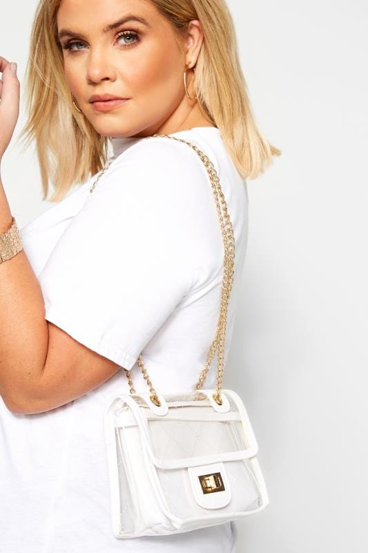 Cross Body Bags LIMITED COLLECTION White Trim Clear PU Bag