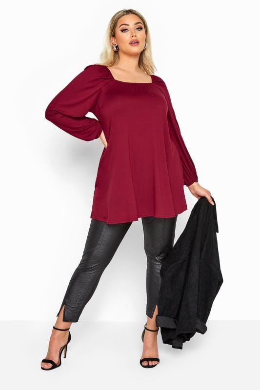 LIMITED COLLECTION Wine Red Square Neck Top