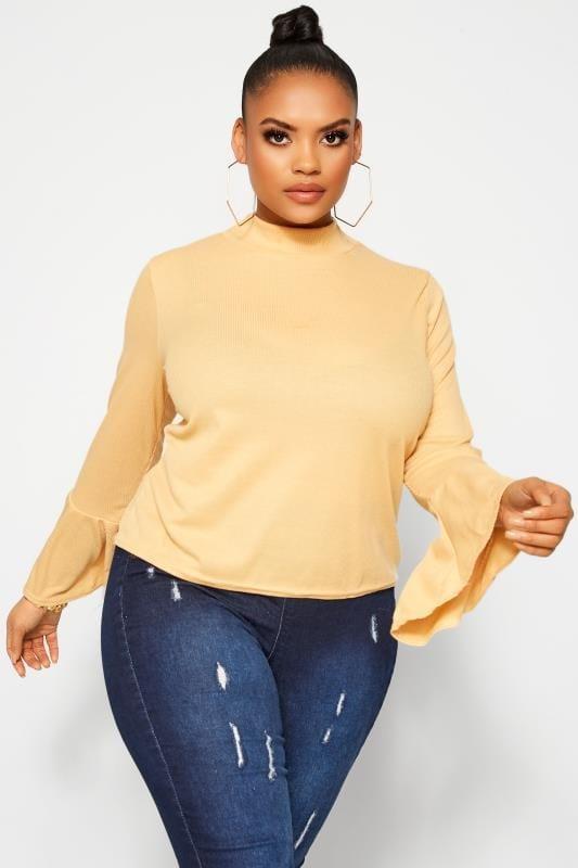 Plus Size Day Tops LIMITED COLLECTION Yellow Ribbed Flute Sleeve Top