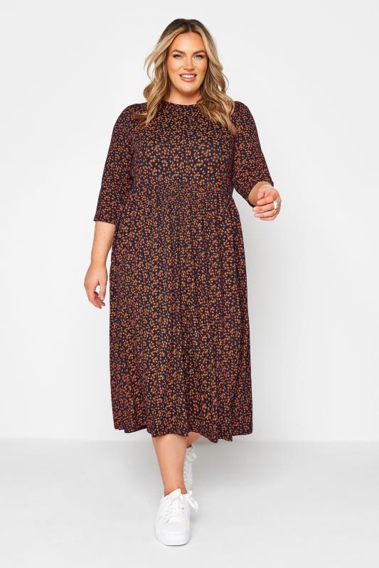 Plus Size  LIMTED COLLECTION Orange Ditsy Print Midaxi Dress