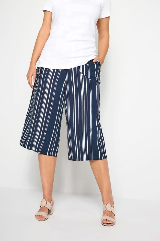 Navy Stripe Linen Mix Culottes