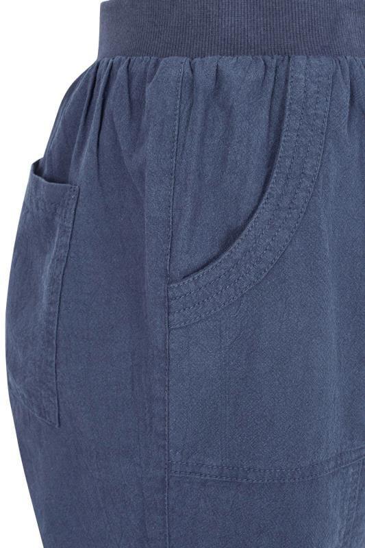 Blue Linen Mix Shorts