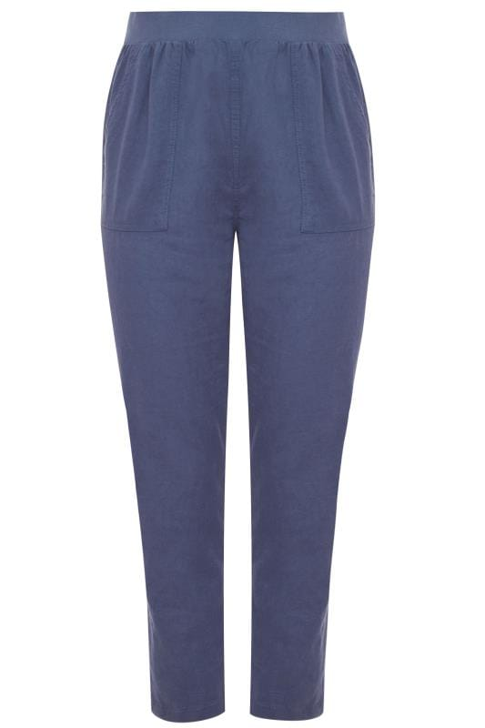 Blue Linen Tapered Trousers