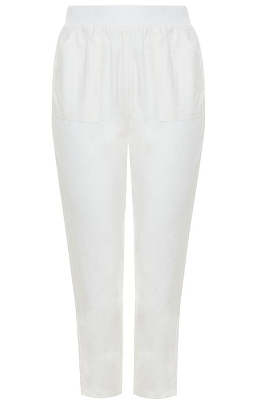 White Linen Tapered Trousers