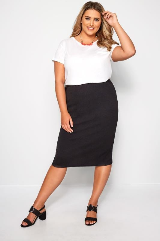 Plus Size Pencil Skirts Black Jersey Pencil Skirt