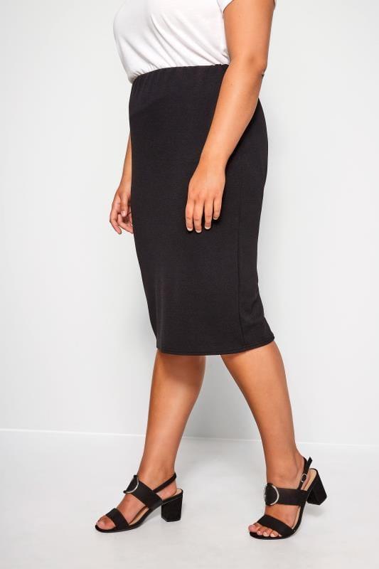 Plus-Größen Pencil Skirts Black Jersey Pencil Skirt
