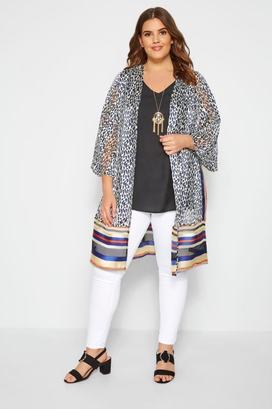 Jacke mit Animal- und Streifenmuster - Weiß