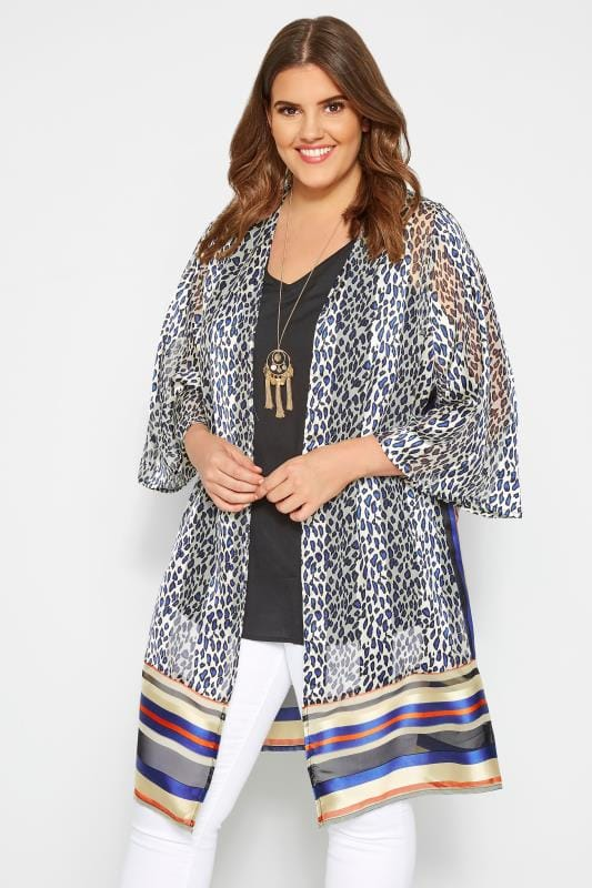 Plus Size Kimonos White Animal & Striped Print Kimono