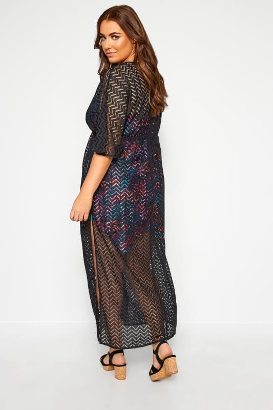 Black Lace Longline Maxi Cover Up