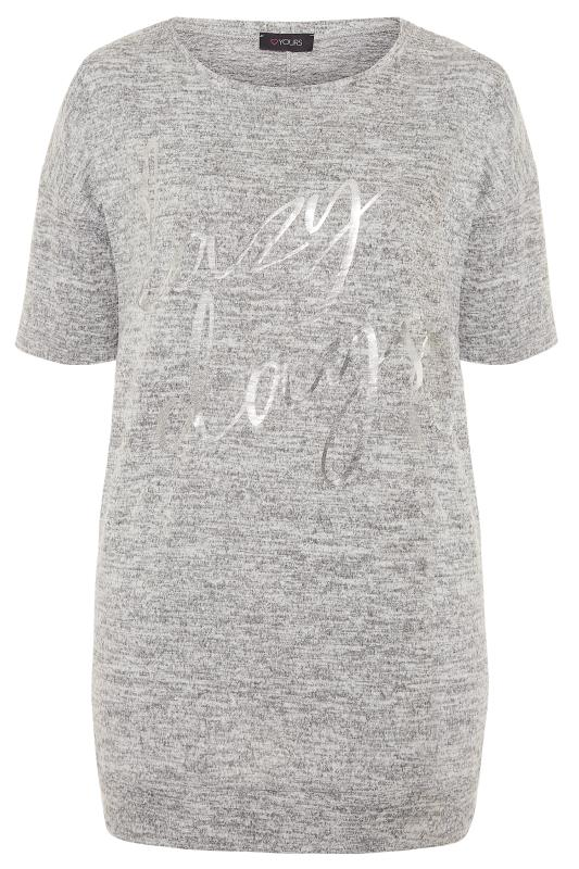 Plus Size Loungewear Grey Marl Foil 'Lazy Days' Slogan Lounge Top