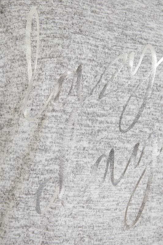Grey Marl Foil 'Lazy Days' Slogan Lounge Top