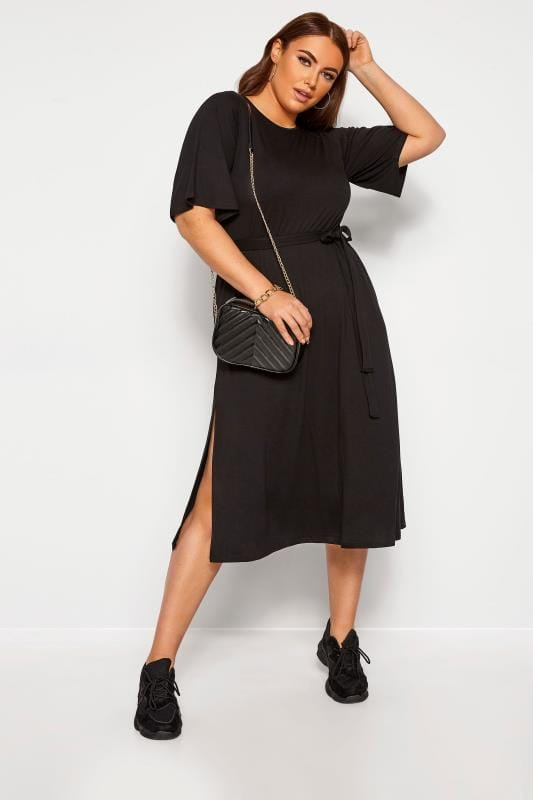 Plus Size Casual Dresses LIMITED COLLECTION Black Midi Dress