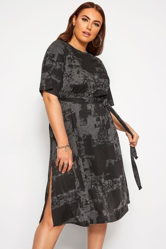 Plus Size Casual Dresses LIMITED COLLECTION Charcoal Grey Tie Dye Midi Dress