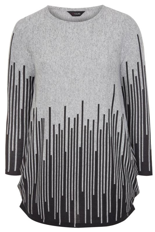 Grey Stripe Border Top