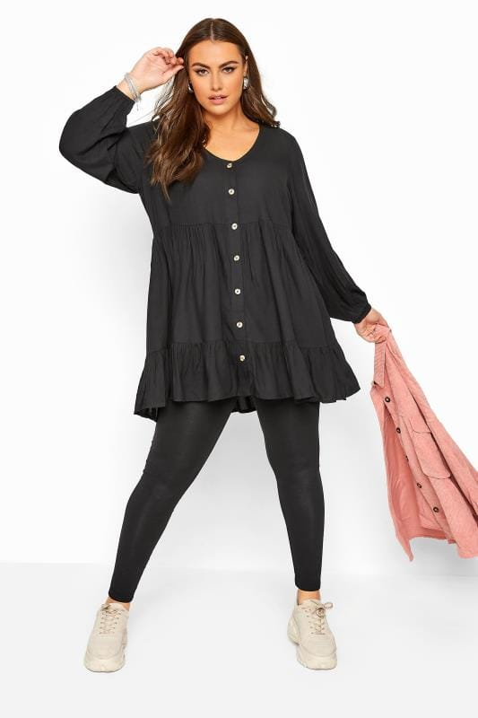 Black Tiered Smock Balloon Sleeve Blouse