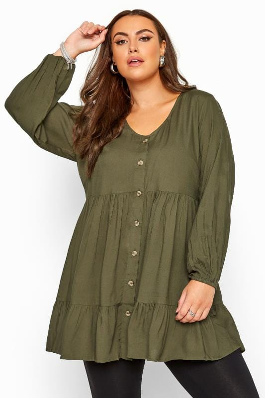 Plus Size Blouses Khaki Tiered Smock Balloon Sleeve Blouse