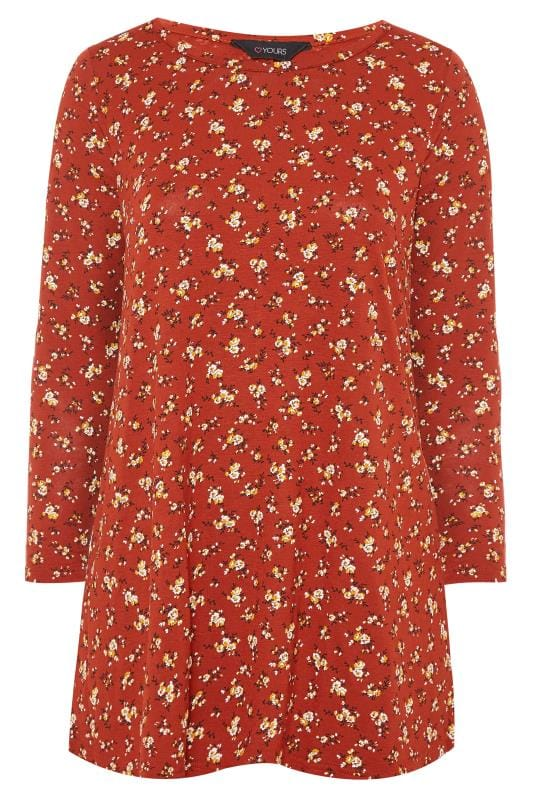 Rust Ditsy Floral Long Sleeved Swing Top