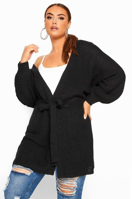 Plus Size Cardigans Black Belted Knitted Cardigan