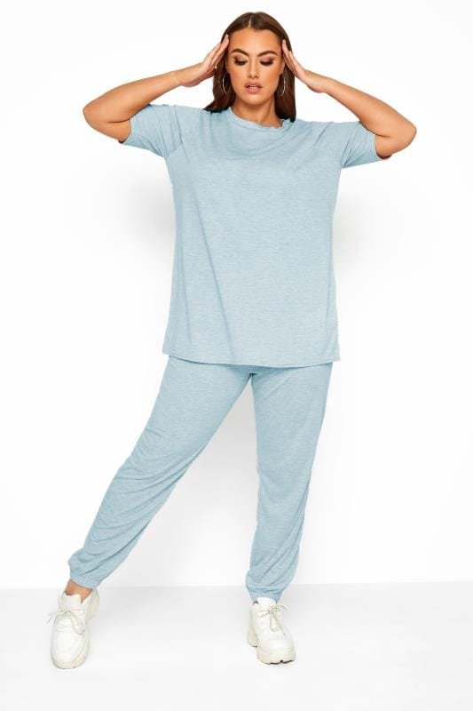 Plus Size Loungewear LIMITED COLLECTION Blue Marl Lounge Joggers
