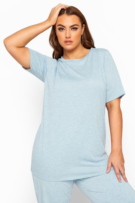 Plus Size Loungewear LIMITED COLLECTION Blue Marl Lounge T-Shirt