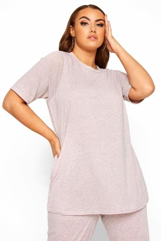 Plus Size Loungewear LIMITED COLLECTION Pink Marl Lounge T-Shirt