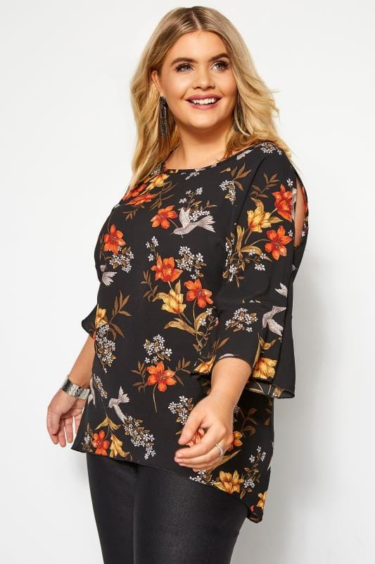 Plus Size Floral Tops LOVEDROBE Black Floral Cold Shoulder Top