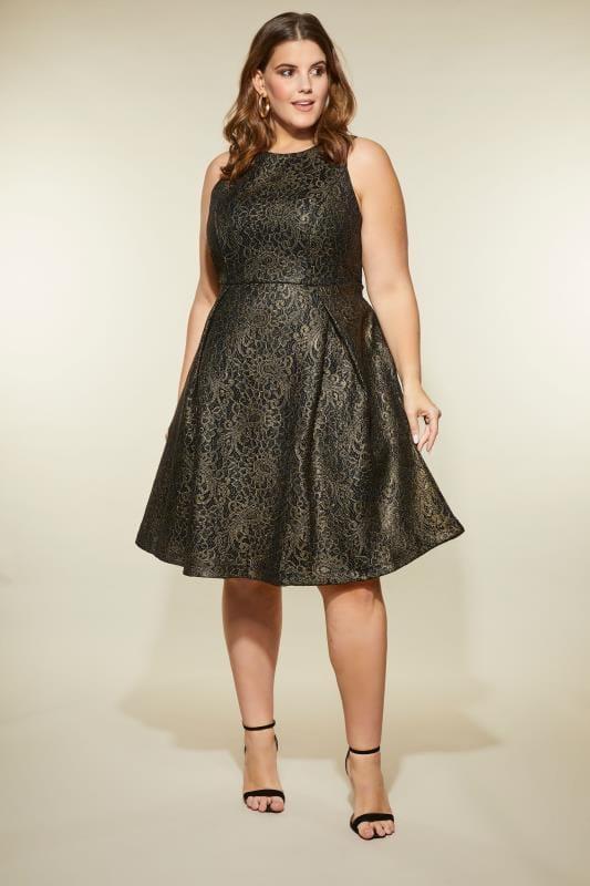 LOVEDROBE Black & Gold Lace Skater Dress