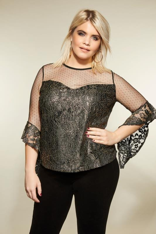 LOVEDROBE Black & Gold Metallic Lace Top