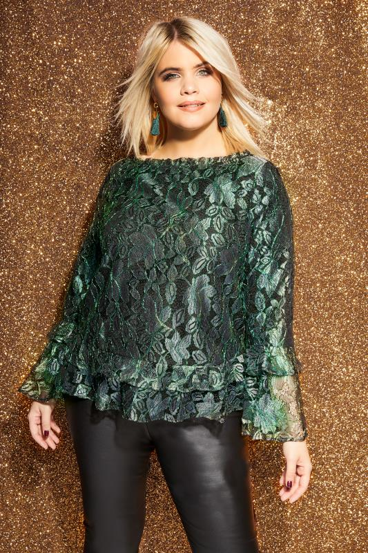 LOVEDROBE Black & Green Metallic Lace Top