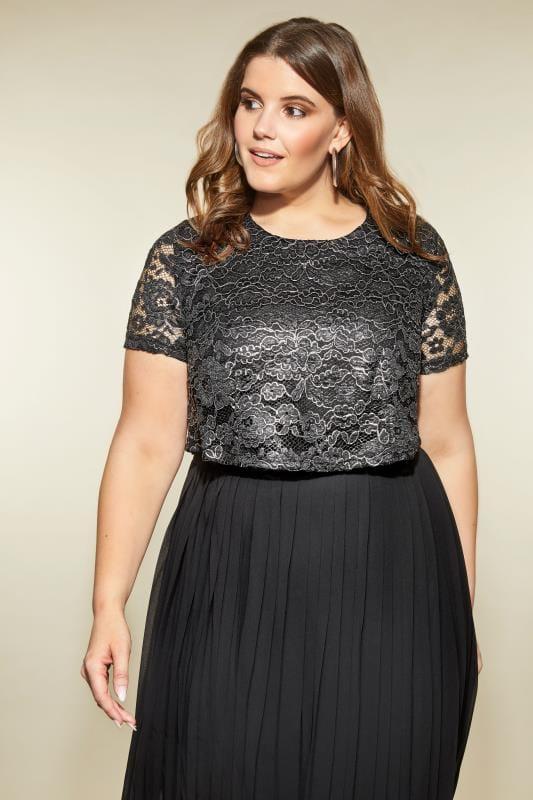 LOVEDROBE Black & Silver Lace Overlay Maxi Dress