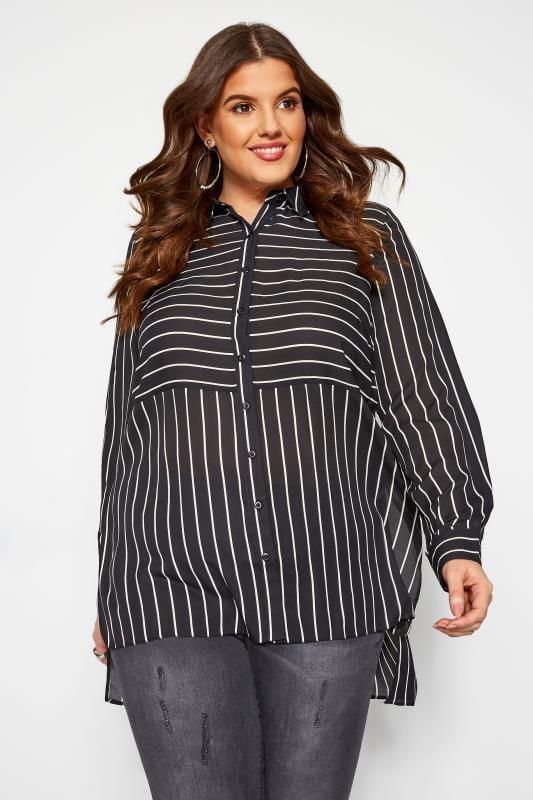 Plus Size Shirts LOVEDROBE Black Stripe Longline Shirt
