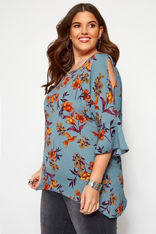 Plus Size Bardot & Cold Shoulder Tops LOVEDROBE Blue Floral Cold Shoulder Top