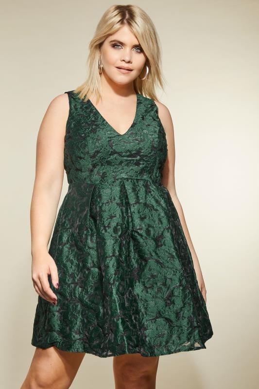 LOVEDROBE Green Jacquard Skater Dress