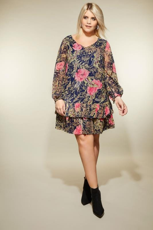 LOVEDROBE Green & Pink Floral Pleated Dress