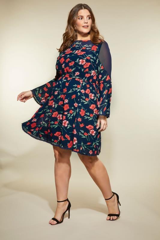 LOVEDROBE Navy Floral Dress