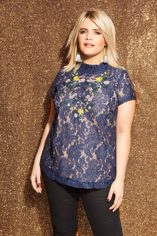 LOVEDROBE Navy Floral Embroidered Lace Top