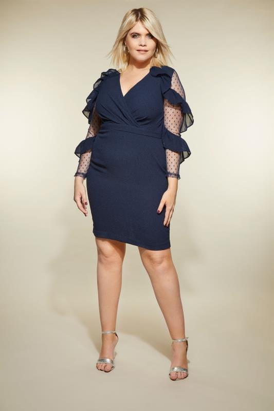 Plus Size Sleeved Dresses LOVEDROBE Navy Ruffle Mesh Dress