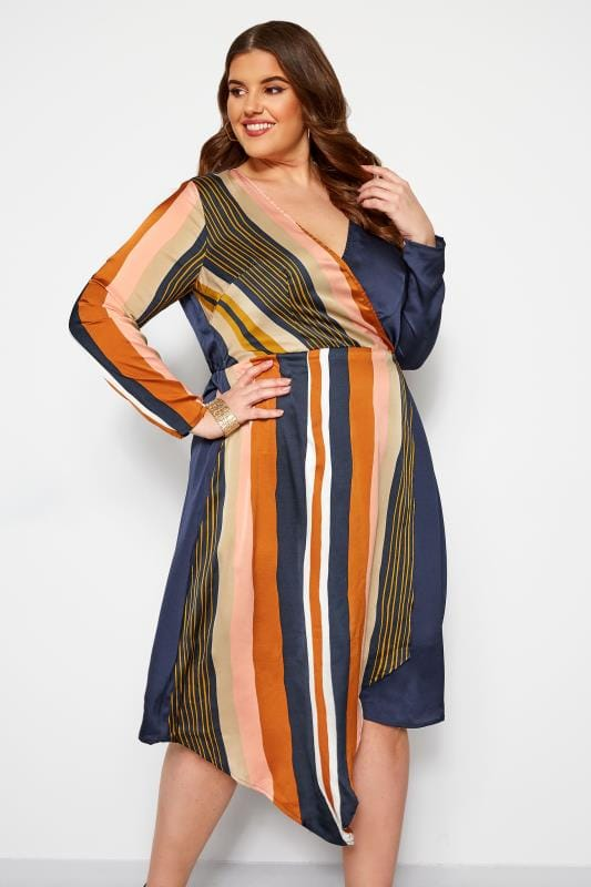 Plus Size Evening Dresses LOVEDROBE Navy Satin Stripe Wrap Dress