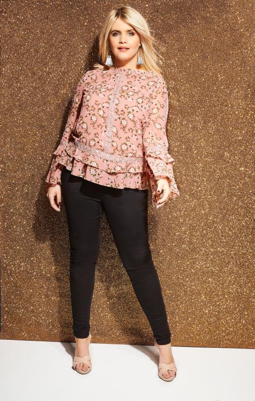 LOVEDROBE Roze blouse met bloemenprint