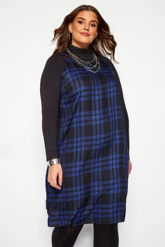 Plus Size Pinafore Dresses LOVEDROBE Blue Check Pinafore Dress