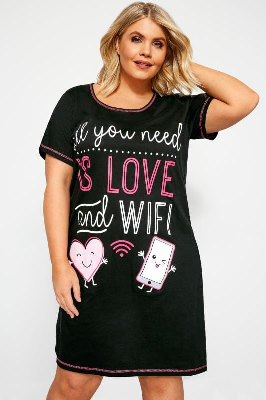 Black 'Love And Wifi' Slogan Print Nightdress