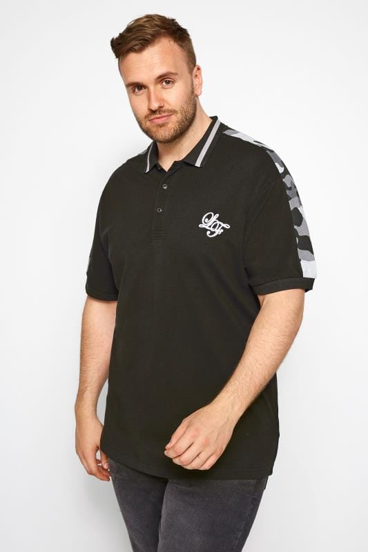 Große Größen Polo Shirts LOYALTY & FAITH Black Camo Polo Shirt