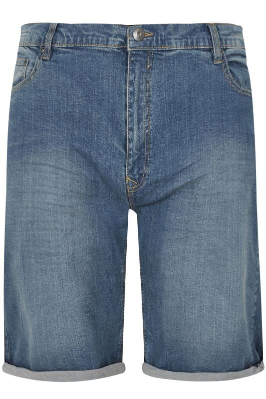 LOYALTY & FAITH Blue Mid Wash Straight Leg Denim Shorts