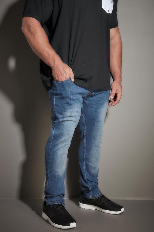 LOYALTY & FAITH Blue Mid Wash Straight Leg Denim Jeans