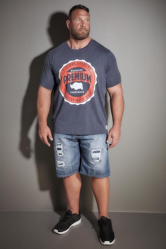 LOYALTY & FAITH Blue Stonewash Ripped Denim Shorts