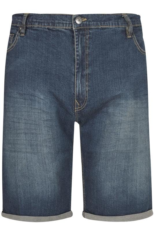 Plus Size Denim Shorts LOYALTY & FAITH Dark Blue Mid Wash Straight Leg Shorts