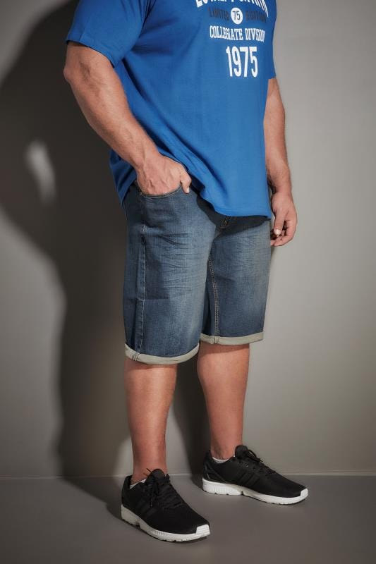 LOYALTY & FAITH Dark Blue Mid Wash Straight Leg Shorts