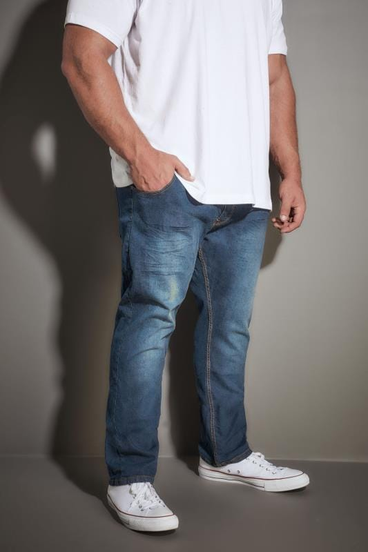 LOYALTY & FAITH Dark Blue Washed Straight Leg Jeans