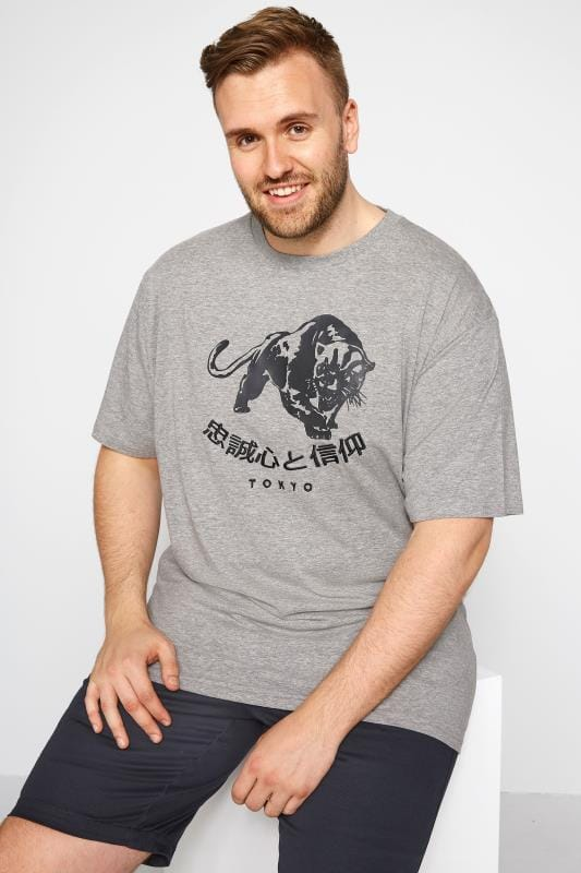 T-Shirts dla puszystych LOYALTY & FAITH Grey Graphic T-Shirt