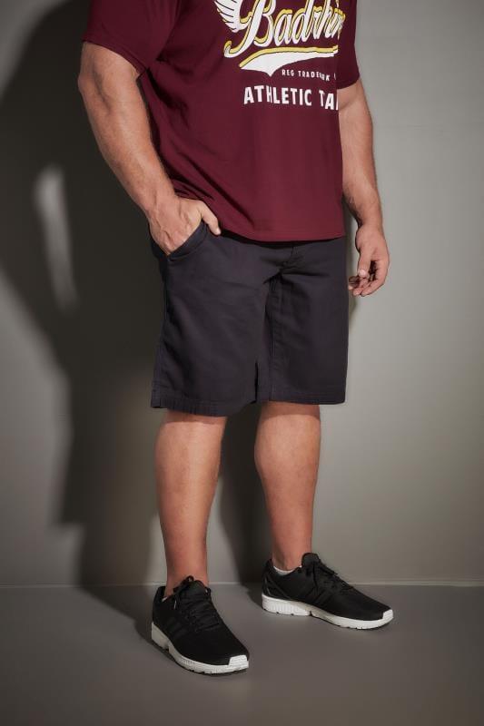 Plus Size Cargo Shorts LOYALTY & FAITH Navy Utility Shorts With Canvas Belt